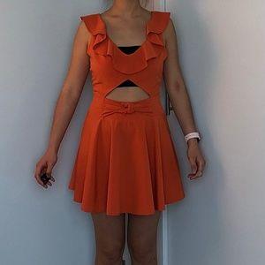 Orange Ruffles Mini Dress Size Small